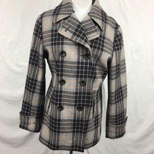 Lands End Brown Blue Plaid Wool Pea Coat Jacket